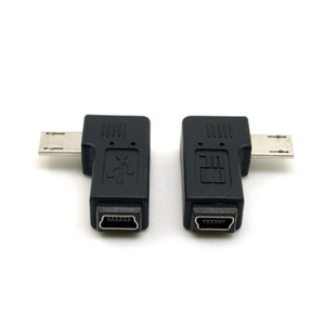 One pair 90 degree left right angled MINI USB Female to MICRO USB Male Data power ADAPTER for cellphone tablet
