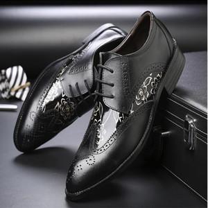 Los hombres visten los zapatos de la boda Shadow Charol Luxury Fashion Groom Party Shoes Los hombres Oxford Zapatos Male Casual Flats