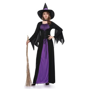 Sexy Purple Witch Halloween Costume Adult Long Sleeve Cosplay Fancy Dress with Hat Ankle Length Carnival Uniform