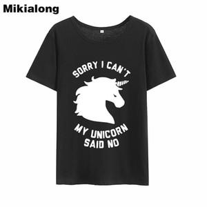 Frauen T-Shirt Frau Win Sorry Ich kann nicht Unicorn Graphic Tees Frauen Hipster Funny T-Shirt Femme Kurzarm Tumblr T Shirt Frauen Sommer Top