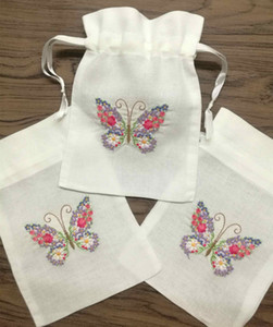 """Set of 120 Fashion Gifts Bags 5x7""""-inch White linen Favor Bags Collection Wedding Handkerchiefs Gifts Bridal Gifts Bags"""