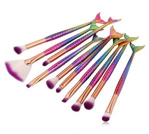 Sıcak 10 ADET / çok Mermaid Makyaj Seti Vakfı harmanlayan Maquiagem Kontur Fırçası Kapatıcı pincel sereia Pinceaux maquillage Fırçalar