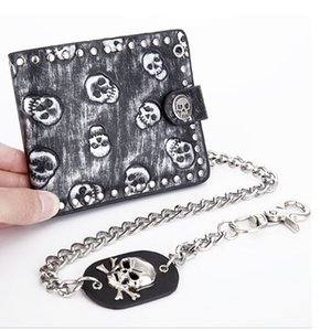 New Fashion PU Leather Men Wallets Personality Change Purses Carteira Feminina with Chain