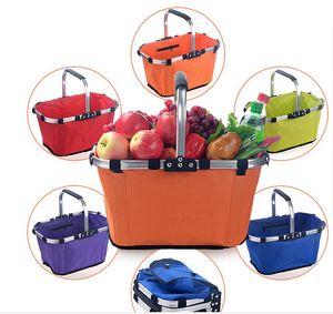 Foldable Eco Shopping Basket Carry Bag Folding Aluminium Frame Collapsible Organization Storage Basket Mayitr House Supermarket Shopping