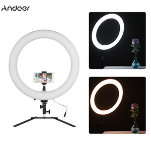 "venta al por mayor 18 ""LED Ring Light Ringlight 5600K 60W Photo Studio Video Light con soporte de mesa Clamp Ball Head para iPhone X 8"