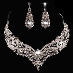 مجموعات المجوهرات للنساء مجموعات الكريستال قلادة أقراط مجوهرات الزفاف الأزياء الساخنة خالية من shippig