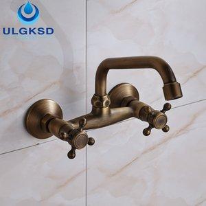 ULGKSD Бесплатная доставка ванная комната двойной ручки сосуд бассейна кран настенный смеситель античная латунь