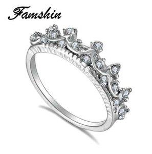 한국어 스타일 복고풍 크리스탈 드릴 중공 크라운 모양의 여왕 기질 반지 여성을위한 파티 결혼 반지 쥬얼리 무료 배송