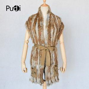 VT803 woman real rabbit fur vest jacket girl spring winter warm shawl genuine rabbit fur knit coat vest with belt black beige
