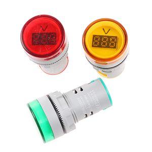 AD16-22DSV 22 ملليمتر ac 60-500 فولت الصمام سيارة الفولتميتر الجهد متر مؤشر الطيار ضوء أحمر أصفر أخضر الرقمية مقياس التيار الكهربائي جودة عالية
