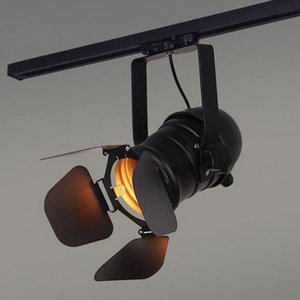 Vintage E27 faixa luz Loft Spotlight industrial Light Rail Preto Lamp Pista com barndoor Roupa Loja Loja de Iluminação Luminárias