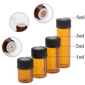 1ml 2ml 3ml 5ml Drams Amber Glass Bottle With Plastic Lid Insert Essentia l Oil Glass Vials Perfume Sample TestHigh Quality Bottle