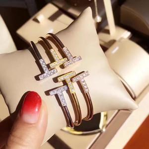 Altın Renk Ayarlanabilir CZ Kristal Pulsera Çift T Şekilli Metal Manşet BraceletsBangle Açık Çapraz Charm Bilezik Kadınlar Veya Erkekler Için