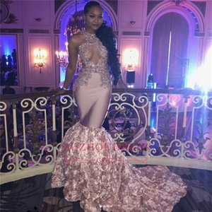 Fantastic New Prom Dresses Blumen Appliques Lange Meerjungfrau Sleeveless Keyhole Abendkleider 2019 African Keyhole Neck Formal BA7910