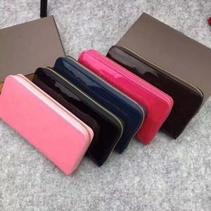 2019 новый дизайнер классический стандартный бумажник лакированной кожи длинный кошелек полихроматические мешок денег молния сумка разноцветные монеты карман хоккейный