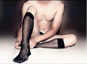 Toptan- SORRYNAM Siyah Erkek Takım Elbise Seksi ipek Çorap Sheer Erkek Resmi Çorap İyi kalite Şeffaf erkekler çorap
