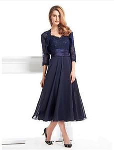 2019 New Sexy Tee-Länge 3/4 Länge Chiffon Lace mit Spitze A-Linie Kleid für die Brautmutter vestidos de novia