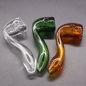 3 Color Glass Tobacco Pipe Pyrex Glass Oil Burner Pipes With One Hole Dab Rig Hand Pipes For Smoking