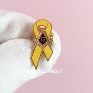 10 pcs Consciência do Câncer de Mama Esmalte Broche Fita Feita Sob Encomenda Emblema Pino Masonic Amarelo Lapela Pin Mestre Mason Quadrado Bússola G