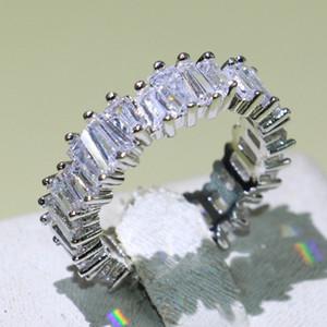 Новый Drop Shipping игристые роскошные ювелирные изделия 925 стерлингового серебра T Принцесса вырезать полный Топаз CZ Алмаз Zirconia партии свадебные женщины кольцо