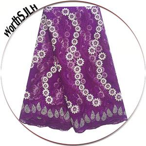 Magenta Dubai French Lace Fabrics 2018 Tulle africano tessuto di pizzo Pietre bianco ultimo svizzero africano tessuto di pizzo per abito