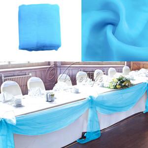 Çevre Dostu 10m x 1 .4m Üst Masa swags Şeffaf Organze Swag Kumaş Düğün Bow Masa Süslemeleri Diy