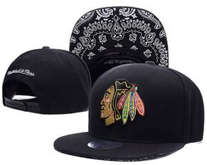 Мужского Черного цвет Специального козырек Чикаго Блэкхокс Snapback Hat Логотип Вышивка Спорт NHL Регулируемого Хоккей Caps Flat бейсболки