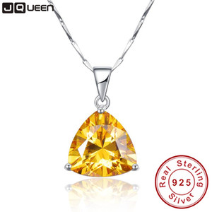 9.35Ct citrine pendant necklace 925 sterling silver chain Geometric Triangle Necklaces&Pendants Jewelry Collar Colar de Plata Y1892805