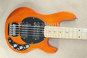 гитара завод 2015 Новый Эрни бал Musicman Music Man Sting Ray натурального дерева прозрачный оранжевый 5 струнная бас-гитара