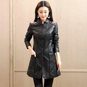 Plus Size Autumn Soft Leather Jacket Women Winter Loose Long Windbreaker Single Breasted Faux Leather Coat