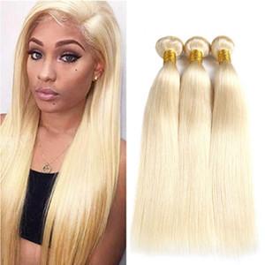 Cheveux humains brésiliens 613 faisceaux blonds droits avec fermeture frontale en dentelle pré-épilage pré-épilé cheveux alignés 13 * 4 pouces oreille à fermeture d'oreille