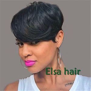 Siyah kadınlar için toptan Ucuz Peruk Pixie kesim kısa İnsan saç peruk siyah kadınlar için Brezilyalı bob tam dantel ön peruk ile bebek saç