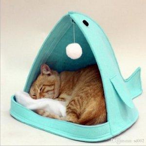 Forma de baleia Ninho de Gato Dobrável Cabelo Sentiu Manter Quente Cat Dog Houses Design Portátil Cattery Pet Para Uso Doméstico 29fr ZZ
