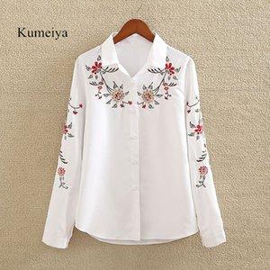 Kumeiya 2018 Herbst Blumenstickerei Bluse Shirt Frauen Schlank Weiß Tops Langarm Blusen Frau Büro Shirts Plus Größe 5XL