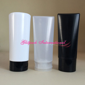 30pcs pack LDPE squeeze cosmetics bottle 200ml 7oz Sebastian bottles Black white natural color with flip top and Disc Top Caps