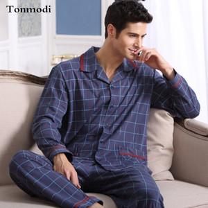 Pijamas de hombre Primavera Otoño Ropa de dormir de manga larga Algodón A cuadros Cardigan Pijamas Hombres Salón Pijama Conjuntos Talla grande 4XL Sueño