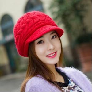 8 couleurs femmes chapeau tricoté chapeaux d'hiver édition han marée femme mignon chapeau tricoté bonnet de fourrure de lapin qiu dong la journée dames chapeau de mode