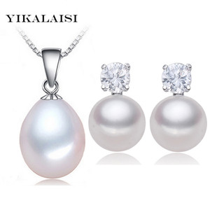 YIKALAISI 2017 100% natural de agua dulce conjunto de perlas colgante Stud pendientes 925 joyería de plata esterlina collar de gargantilla para mujeres