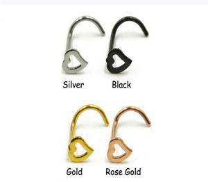 Bijoux de corps gratuit anneaux de nez de coeur vis vis anneau piercing nez en acier inoxydable anneau ouvert anneau de boucle d'oreille