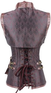 Hot Women Steampunk Corset Sexy Punk Brown Black Faux Leather Floral Steel Boned Bustiers Lace Up Plus Size Waist Trainer