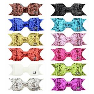 Клип 3.75Inch ребёнки Блеск Шпилька Blingbling волос Ribbon Bowknot пришивание Шпилька Boutique Детская Красочный Barrettes