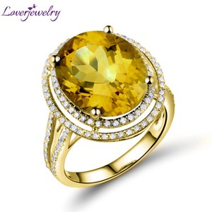 Loverjewelry Fine Jewelry Romantic Party Ovale 11x13mm Natural Yellow Citrine 14kt Yellow Gold Engagement Anello donna 2T018 S923