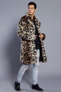 패션 남성 겨울 가짜 모피 재킷 인쇄 표범 긴 소매 옷깃 칼라 두꺼운 따뜻한 패션 남자 코트 긴 플러스 사이즈 3XL 뜨거운 판매