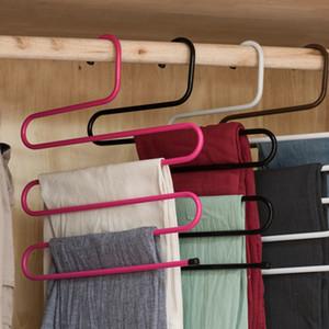 S-förmige 5 Schichten Hosen Kleiderbügel Badezimmer Küche Veranstalter Hosen Halter Krawattenhalter für Kleiderbügel Edelstahl