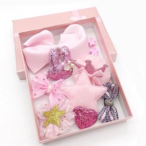 Accessori per capelli Neonate Boutique Head Clips Archi per capelli Corona Princess Bobbles Gift 10pcs Set Baby Hair Bows