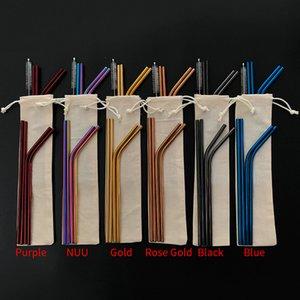 6 Farben freie Kombination !! Maßgeschneiderte Beutelverpackung 4 + 1 wiederverwendbare Edelstahl-Trinkhalme Set Metallstrohhalme Set mit Reinigungsbürste