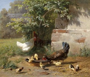 pau família feliz com galinhas pintos na mão de verão pintou a parede Decor Abstract Art Oil animal pintura da lona multi Tamanhos Opções Hy033 #