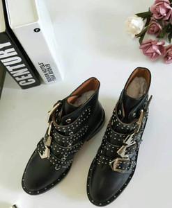 SpringFall الأعلى اصطف سوزانا رصع الجلود مشبك الكاحل أحذية للنساء جولة تو هريرة كعوب أحذية النساء zapatos موهير