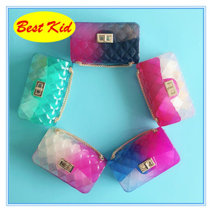 BestKid envío de DHL! Nueva jalea bolsas para bebés de la manera verano de los niños Monedero Niños Crossbody bolsos nuevos colores del caramelo Bolsas BK058