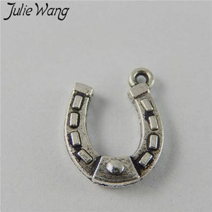 Julie Wang 20PCS U-shaped Horseshoe Antique Silver Alloy Charms Vintage Jewelry Necklace Pendants Handcrafts Finding Accessories